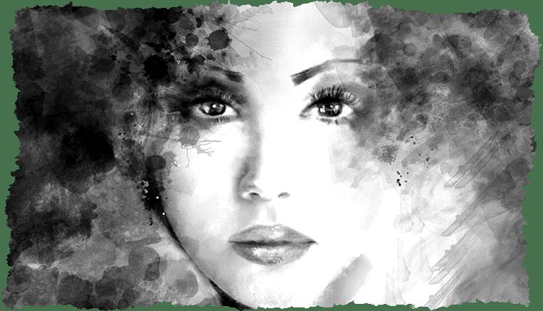 Dessin visage femme noir & blanc