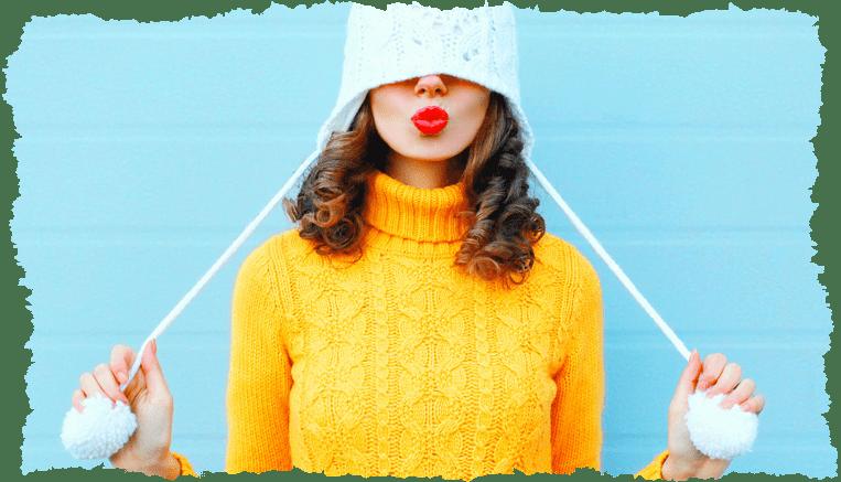 femme bonnet pull beauté hiver