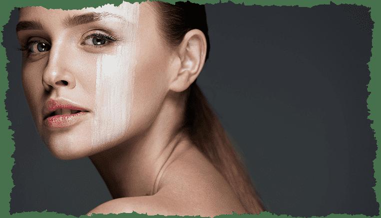 Visage femme trace crème peau lisse