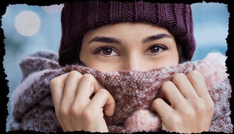 Femme hiver peau sèche