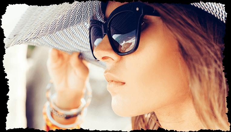Visage femme lunettes soleil