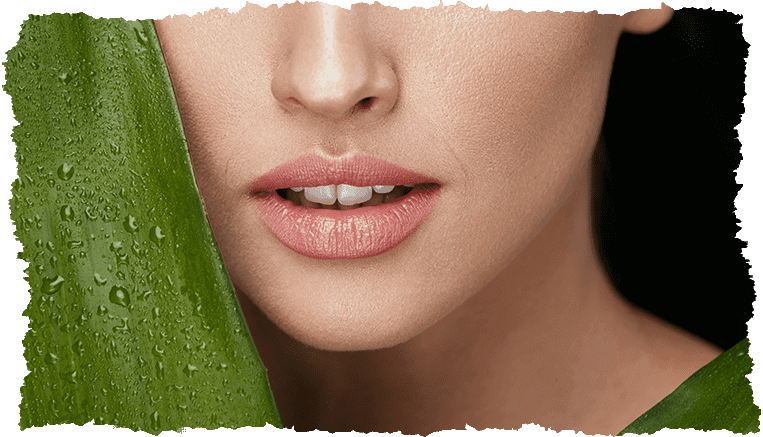 Visage femme peau douce feuille