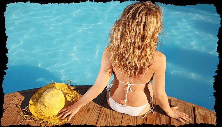 femme bronzage piscine veld's