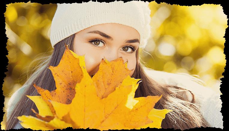 femme feuilles automne beauté